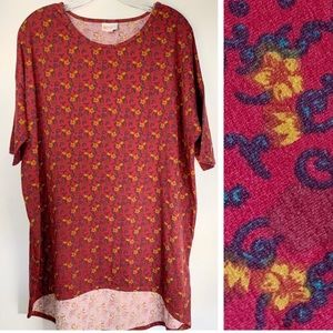 Lularoe Plus Size Irma Burgundy Floral Top